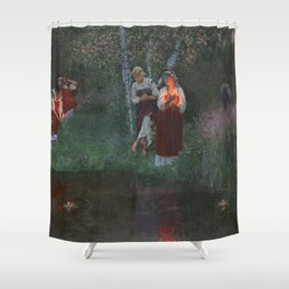Ivan Kupala. Guessing at the wreaths. Shower Curtain
