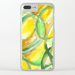 Yellow And Green Number Four Clear iPhone Case