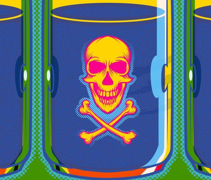 psychedelic poison bottle Metal Travel Mug