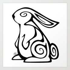 Rabbit Swirls Art Print