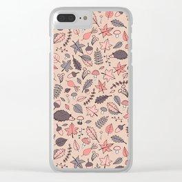 Autumn Pattern Clear iPhone Case