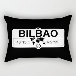 Bilbao Basque Country with World Map GPS Coordinates Rectangular Pillow