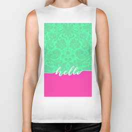 Neon Pink Turquoise Floral Damask Hello Typography Biker Tank