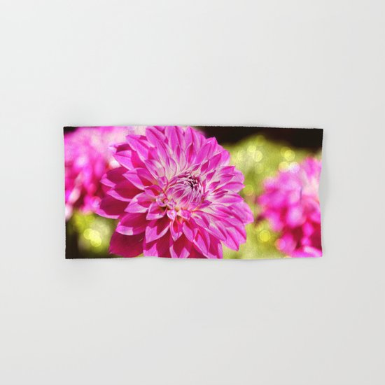 Pink dahlia on shiny day Hand & Bath Towel