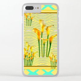 Turquoise Yellow Diamond Design Calla Lilies Clear iPhone Case
