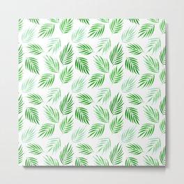 Tropical areca palms pattern in green Metal Print