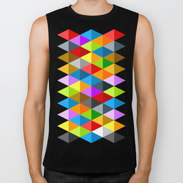 Modern bright funky colorful triangles pattern Biker Tank