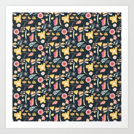 Abstract pink yellow coral hand painted floral butterfly pattern Art Print