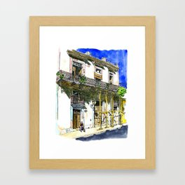 Man Sitting in Front of His House, Habana Vieja, Cuba Framed Art Print