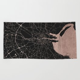 Black on Rosegold Dublin Street Map Beach Towel