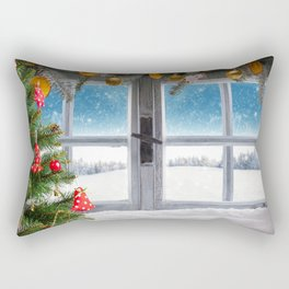 winter 4k Christmas Happy New Year window christmas decorations xmas snow Rectangular Pillow