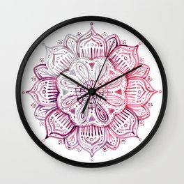 Burgundy Blush Watercolor Mandala Wall Clock