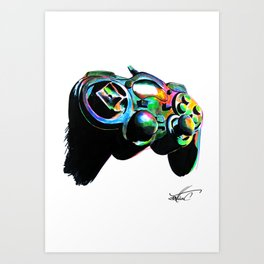 Gamepad fluorescente playstation Art Print