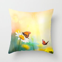 Flowers With Butterflies in the spring garden illustration Throw Pillow