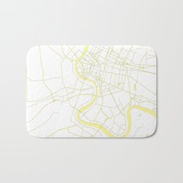 Bangkok Thailand Minimal Street Map - Pastel Yellow and White Bath Mat