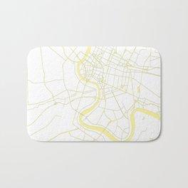 Bangkok Thailand Minimal Street Map - Pastel Yellow and White Bath Mat