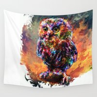 brave Wall Tapestries featuring brave little owl by ururuty