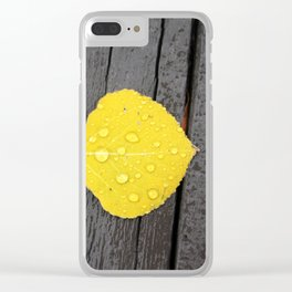 Water Droplets on Aspen Leaf Clear iPhone Case