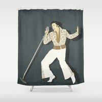 elvis presley Shower Curtains featuring Elvis Presley Impersonator by Aquamarine Studio