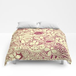 Yellow square, pink floral doodle, zentangle inspired art pattern Comforters