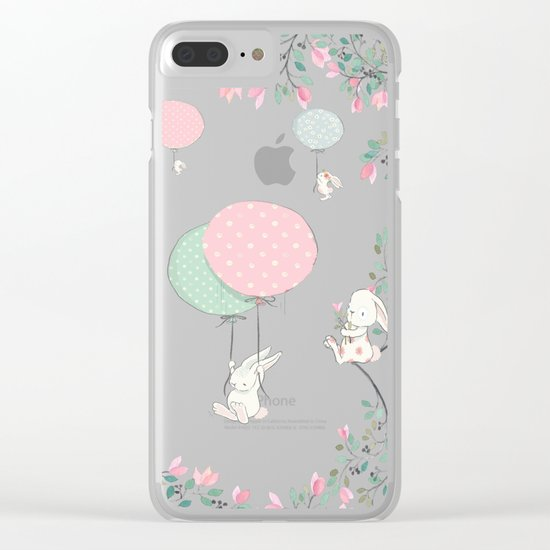 Cute flying Bunny with Balloon and Flower Rabbit Animal on pink floral backround Clear iPhone Case