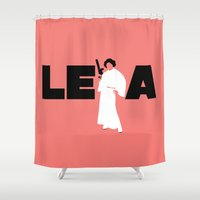 princess leia Shower Curtains featuring Princess Leia by Vector Vectoria