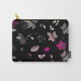 Pink Flowers & White Roses Carry-All Pouch