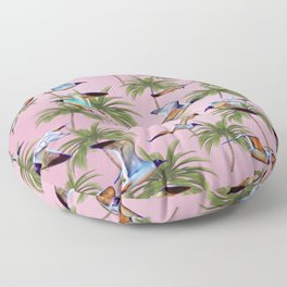 Seagulls and Palm Trees Floor Pillow