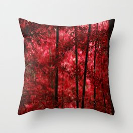 Red Bamboo Forest Throw Pillow