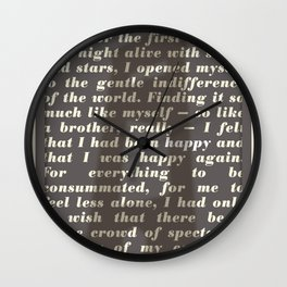 Literary Quote Poster — The Stranger by Albert Camus Wall Clock