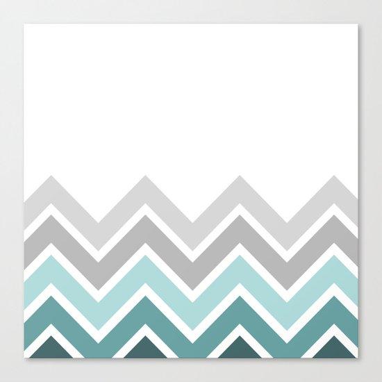WHITE/ TEAL CHEVRON FADE Canvas Print