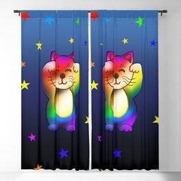 Cute rainbow lucky cat with stars Blackout Curtain