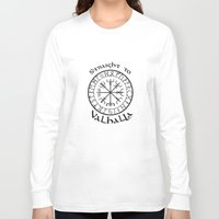 vikings Long Sleeve T-shirts featuring Straight to Valhalla, Vikings by ZsaMo Design