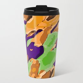 brown purple and green camouflage graffiti painting abstract background Travel Mug