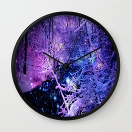 Cosmic River Galaxy Forest Wall Clock