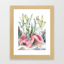 White Calla Lily and Corals Seaweed Watercolor Surreal Botanical Underwater Framed Art Print