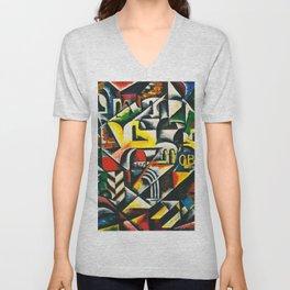 """Lyubov Popova """"Cubist urban landscape"""" Unisex V-Neck"""