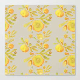Granada Floral in Yellow on grey Canvas Print
