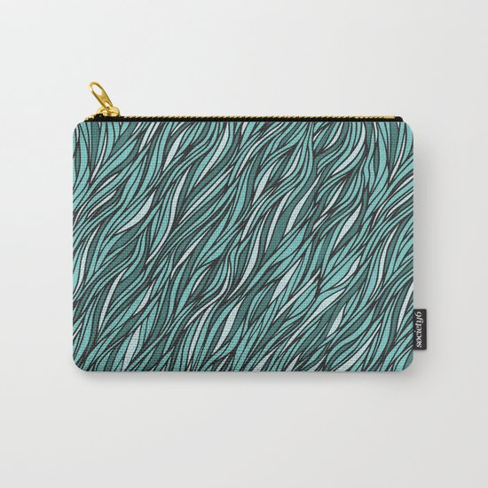 Cyan wave pattern Carry-All Pouch