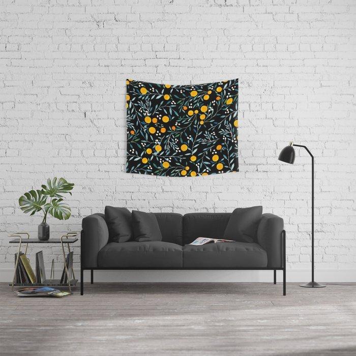 Oranges Black Wall Tapestry