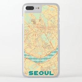 Seoul Map Retro Clear iPhone Case