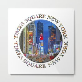 Times Square New York Badge Emblem Metal Print