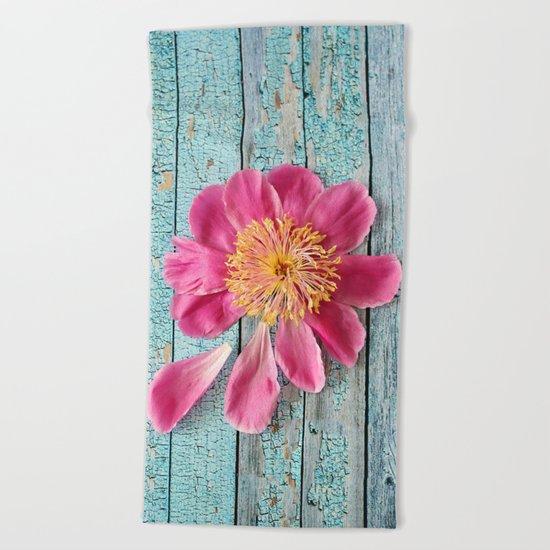pink peony Beach Towel