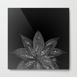 Gray Black Agave with Black Silver Glitter #2 #shiny #tropical #decor #art #society6 Metal Print