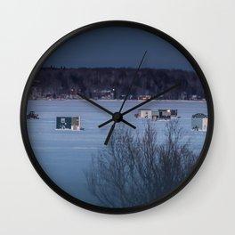 Ice Fishing on Fish Hook Lake Wall Clock