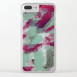 green red and purple painting texture abstract background Clear iPhone Case
