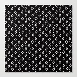 Contemporary Black & White Geometrical Shapes Pattern Canvas Print