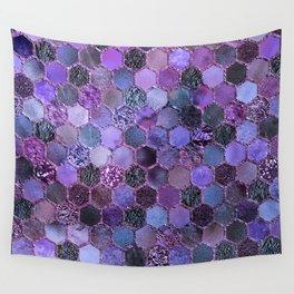 Purple geometric hexagonal elegant & luxury pattern Wall Tapestry
