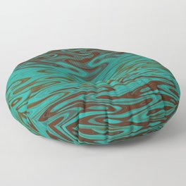 Ripples Fractal in Teals Floor Pillow