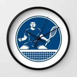 Tennis Player Racquet Fist Pump Icon Wall Clock